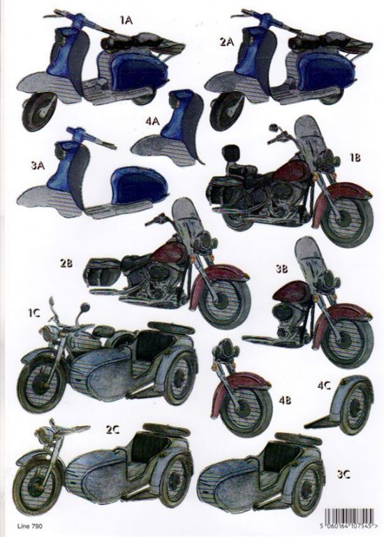 Retro Motorbikes Foiled Die Cut 3d Decoupage Sheet From Craft UK Ltd